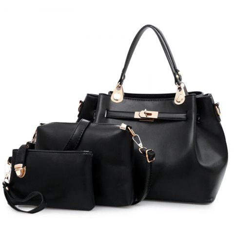 Faux Leather 3 Pieces Tote Bag Set Noir