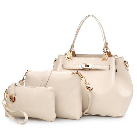 Outfit Faux Leather 3 Pieces Tote Bag Set - OFF-WHITE  Mobile