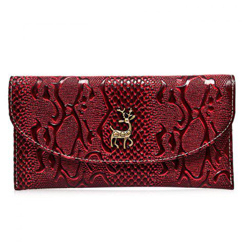 Faux Leather Embossed Clutch Wallet - Wine Red - For Iphone 7
