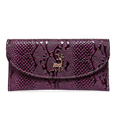 Trendy Faux Leather Embossed Clutch Wallet PURPLE