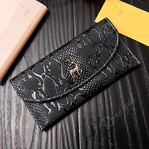 Discount Faux Leather Embossed Clutch Wallet - BLACK  Mobile