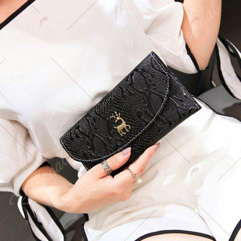Best Faux Leather Embossed Clutch Wallet - BLACK  Mobile