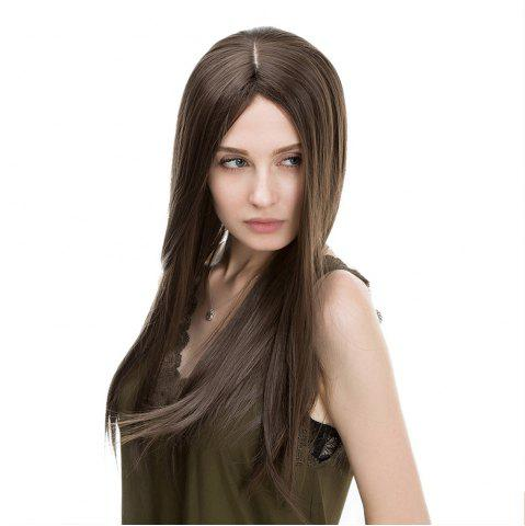 Hot Middle Part Long Straight Synthetic Wig FLAX 60CM