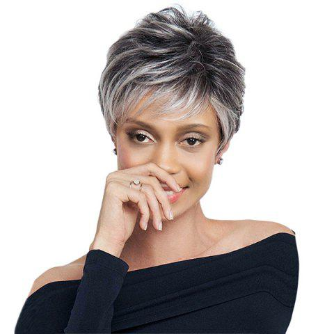 Best Short Side Bang Layered Shaggy Straight Colormix Synthetic Wig - 8INCH BLACK AND GREY Mobile