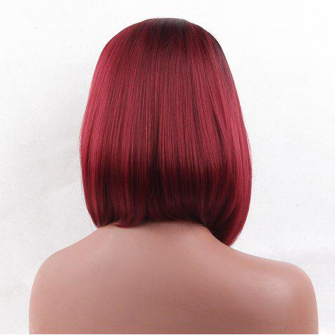 Trendy Medium Side Part Straight Bob Colormix Synthetic Wig - BLACK AND RED  Mobile