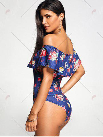 Best Off The Shoulder One Piece Rose Swimwear - M BLUE Mobile