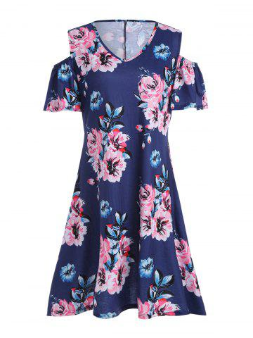 Plus Size Cold Shoulder Asymmetric Floral Dress - Deep Blue - 5xl