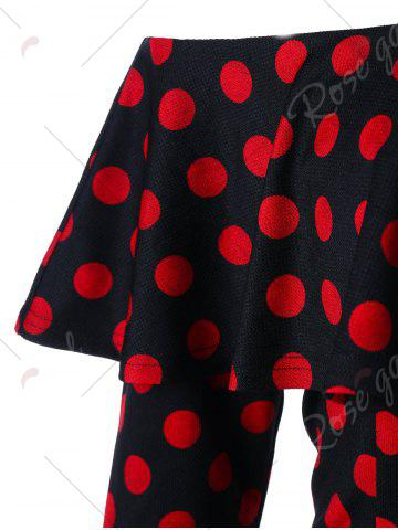New Overlay Polka Dot Off The Shoulder Pencil Dress - M RED WITH BLACK Mobile