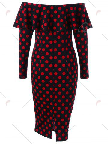 Outfits Overlay Polka Dot Off The Shoulder Pencil Dress - M RED WITH BLACK Mobile