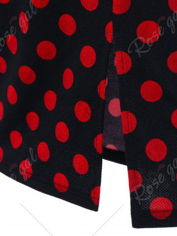 Buy Overlay Polka Dot Off The Shoulder Pencil Dress - M RED WITH BLACK Mobile