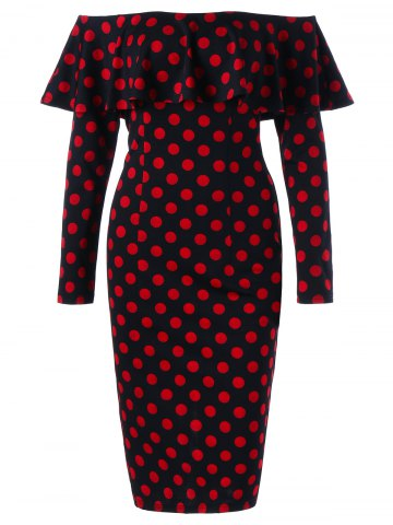 Cheap Overlay Polka Dot Off The Shoulder Pencil Dress - M RED WITH BLACK Mobile