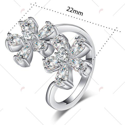 Shops Rhinestone Double Floral Ring - 7 SILVER Mobile