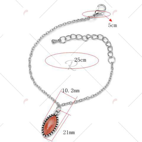 Trendy Faux Gem Charm Oval Chain Bracelet - RED  Mobile
