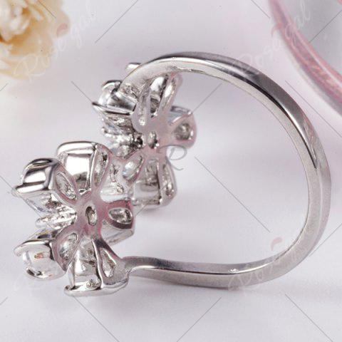 Fashion Rhinestone Double Floral Ring - 7 SILVER Mobile