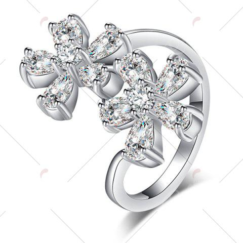 Discount Rhinestone Double Floral Ring - 7 SILVER Mobile