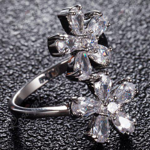 Fashion Rhinestone Double Floral Ring - 8 SILVER Mobile