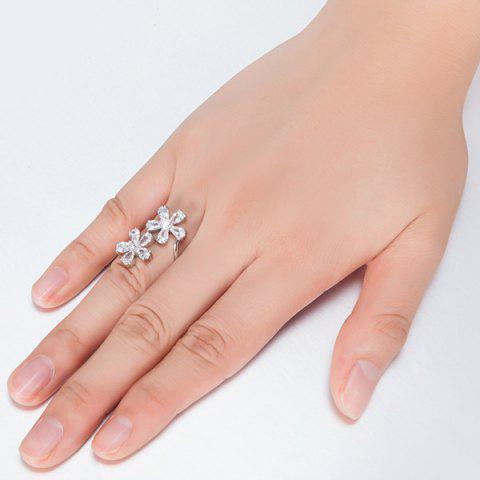 Discount Rhinestone Double Floral Ring - 8 SILVER Mobile