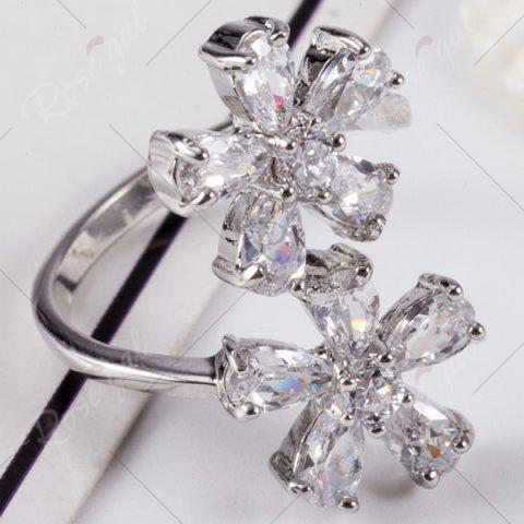 Fancy Rhinestone Double Floral Ring - 8 SILVER Mobile