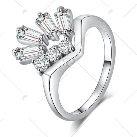 Fashion Faux Gem Embellished Geometrical Ring - 6 SILVER Mobile