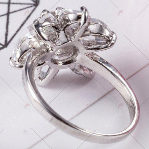 Unique Artificial Crystal Inlaid Flower Shape Ring - 6 SILVER Mobile