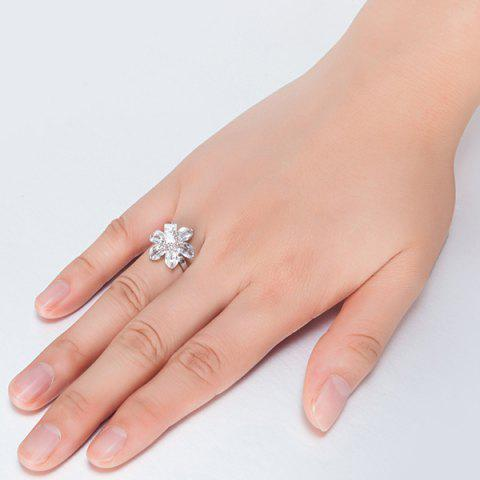 Chic Artificial Crystal Inlaid Flower Shape Ring - 6 SILVER Mobile