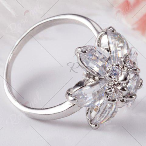 Best Artificial Crystal Inlaid Flower Shape Ring - 6 SILVER Mobile