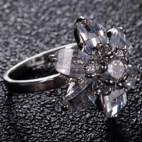 Unique Artificial Crystal Inlaid Flower Shape Ring - 7 SILVER Mobile