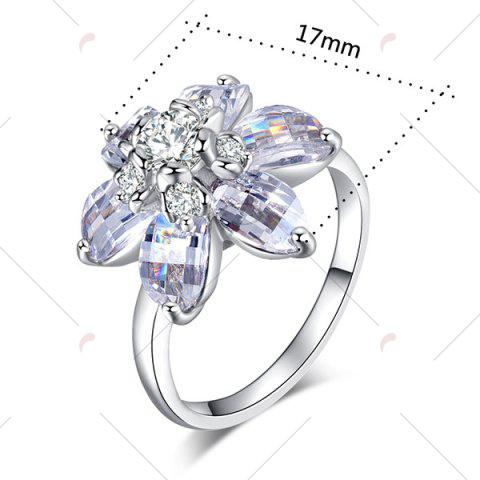 Latest Artificial Crystal Inlaid Flower Shape Ring - 9 SILVER Mobile