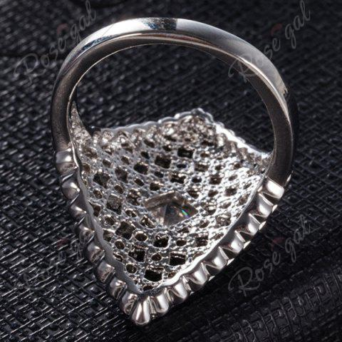 Sale Artificial Diamond Inlay Rhombic Ring - 6 SILVER Mobile