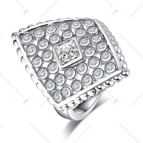 Latest Artificial Diamond Inlay Rhombic Ring - 6 SILVER Mobile
