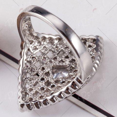 Buy Artificial Diamond Inlay Rhombic Ring - 8 SILVER Mobile
