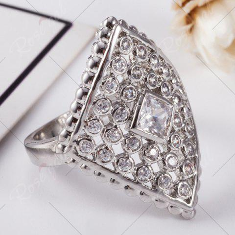 Online Artificial Diamond Inlay Rhombic Ring - 8 SILVER Mobile