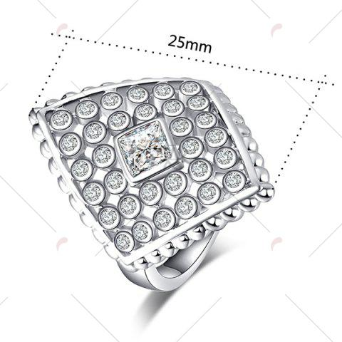 Cheap Artificial Diamond Inlay Rhombic Ring - 9 SILVER Mobile