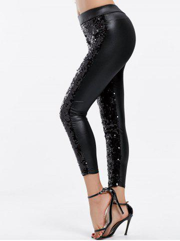 Shops Fashionable Sequins Splicing Over Hip Skinny Women's Leggings BLACK ONE SIZE