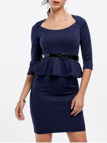 3/4 Sleeves Scoop Neck Belt Beam Waist Packet Buttock Flounces Sexy Women's Peplum Dress - Deep Blue - L