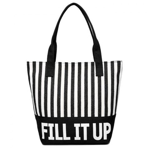 Canvas Striped Pattern Shoulder Bag - White And Black