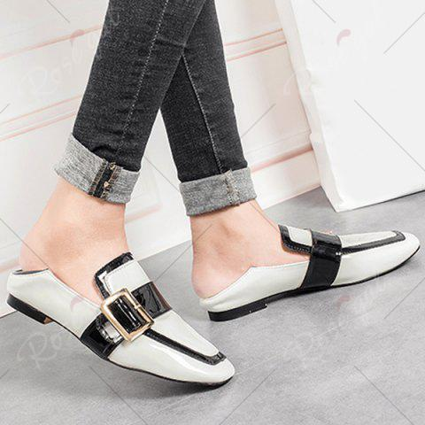 Trendy Apron Toe Buckle Strap Loafers - 38 WHITE Mobile