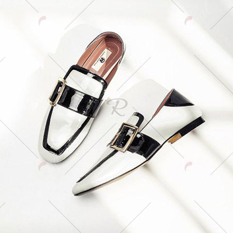 Hot Apron Toe Buckle Strap Loafers - 38 WHITE Mobile