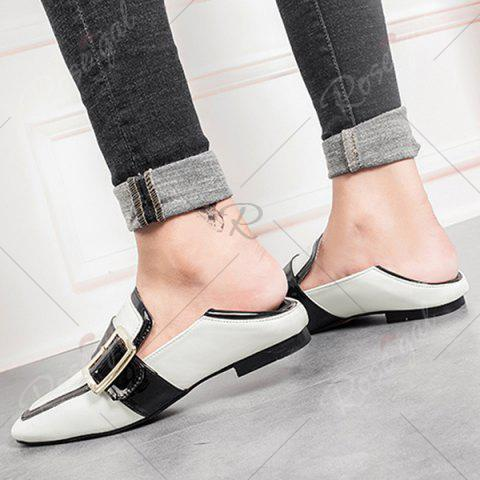 Shop Apron Toe Buckle Strap Loafers - 38 WHITE Mobile