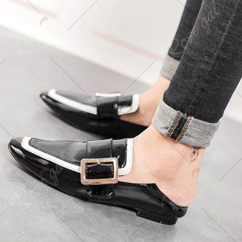 Latest Apron Toe Buckle Strap Loafers - 39 BLACK Mobile