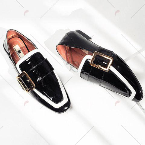 Store Apron Toe Buckle Strap Loafers - 39 BLACK Mobile