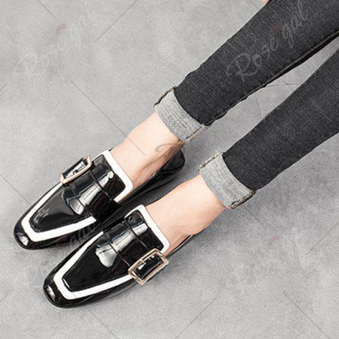 Shop Apron Toe Buckle Strap Loafers - 37 BLACK Mobile