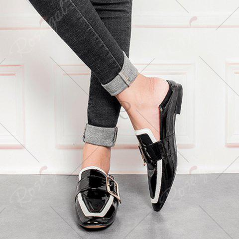 Trendy Apron Toe Buckle Strap Loafers - 38 BLACK Mobile