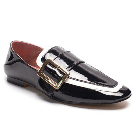 Apron Toe Buckle Strap Loafers - Black - 38
