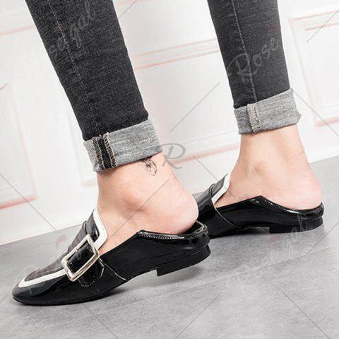 Chic Apron Toe Buckle Strap Loafers - 38 BLACK Mobile