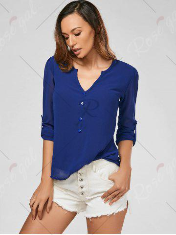 Outfits V Neck Sheer Chiffon Button Blouse - 2XL DEEP BLUE Mobile