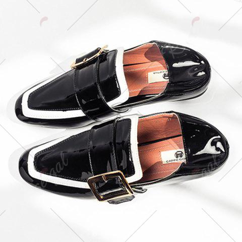 Hot Apron Toe Buckle Strap Loafers - 38 BLACK Mobile
