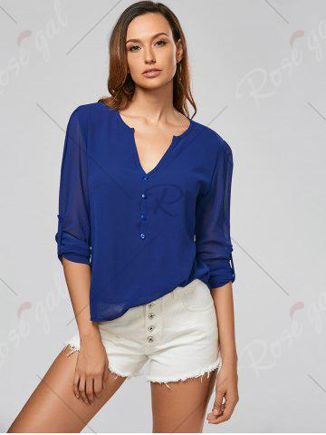 Latest V Neck Sheer Chiffon Button Blouse - 2XL DEEP BLUE Mobile