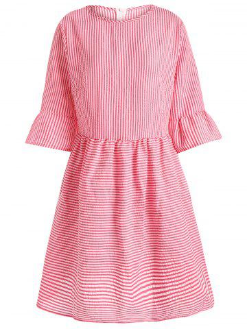 Trendy Flare Sleeve Striped Shift Dress - XL RED Mobile