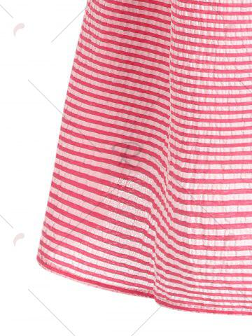 Discount Flare Sleeve Striped Shift Dress - XL RED Mobile